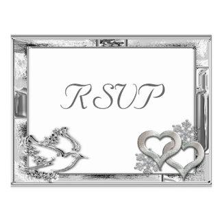 Silver Winter Wedding RSVP Postcard
