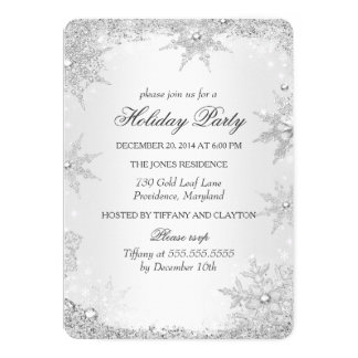 Silver Winter Wonderland Christmas Holiday Party 2 13 Cm X 18 Cm Invitation Card