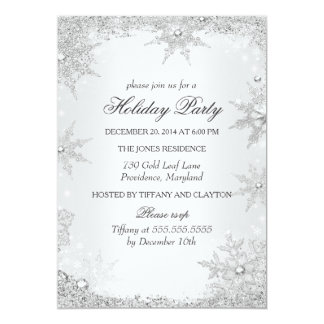 Silver Winter Wonderland Christmas Holiday Party 2 Card