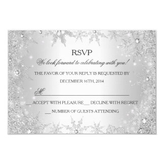 Silver Winter Wonderland Christmas Holiday RSVP Card
