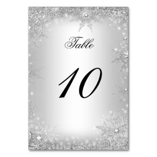 Silver Winter Wonderland Christmas Table Number Table Cards