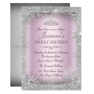 Silver Winter Wonderland Pink Sweet 16 Invitation