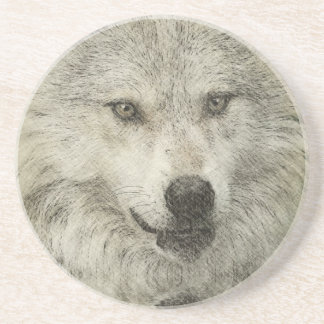 Silver Wolf Pencil Illustration Drawing Beverage Coasters