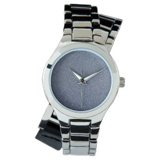 Silver Wrap Watch with Dark Gray Glitter Face