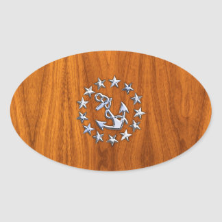Silver Yacht Flag on Nautical Teak Wood Print Oval Sticker