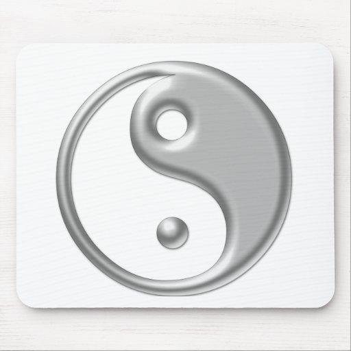 Silver Ying Yang Mousepad