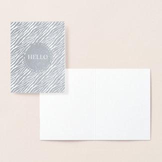 Silver Zebra print Personalized Hello Foil Card