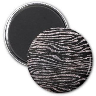 Silver zebra stripe pattern (faux glitter bling) 6 cm round magnet