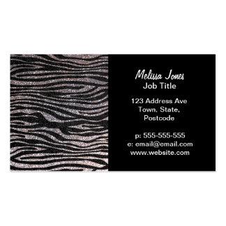 Silver zebra stripe pattern (faux glitter bling) business card template