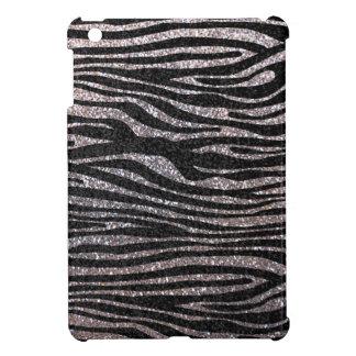 Silver zebra stripe pattern (faux glitter bling) iPad mini case