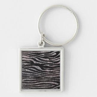 Silver zebra stripe pattern (faux glitter bling) key ring