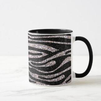 Silver zebra stripe pattern (faux glitter bling) mug