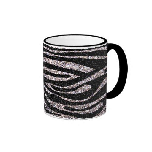 Silver zebra stripe pattern (faux glitter bling) coffee mug