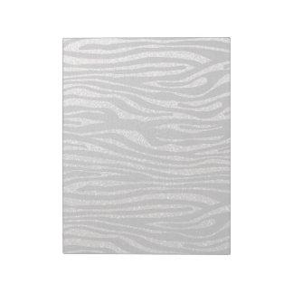 Silver zebra stripe pattern (faux glitter bling) notepad