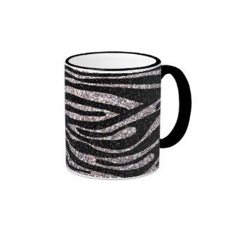 Silver zebra stripe pattern (faux glitter bling) ringer mug