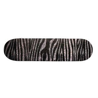 Silver zebra stripe pattern faux glitter bling skate board deck