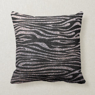 Silver zebra stripe pattern (faux glitter bling) throw pillow