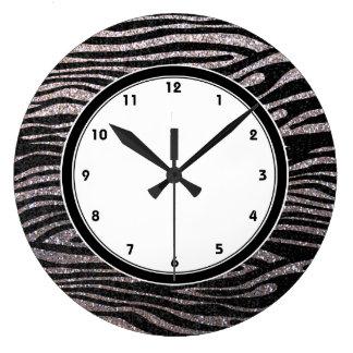 Silver zebra stripes (faux glitter bling) large clock
