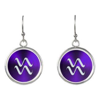 Silver Zodiac Sign Aquarius On Purple Earrings
