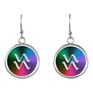 Silver Zodiac Sign Aquarius On Rainbow Earrings