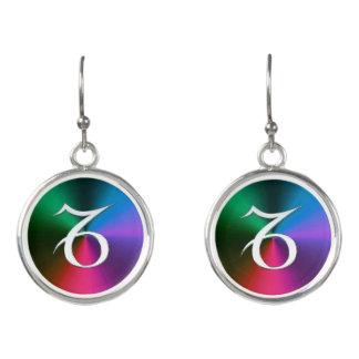 Silver Zodiac Sign Capricorn On Rainbow Earrings