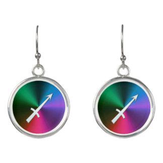 Silver Zodiac Sign Sagittarius On Rainbow Earrings