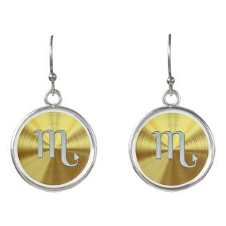 Silver Zodiac Sign Scorpio On Gold Earrings