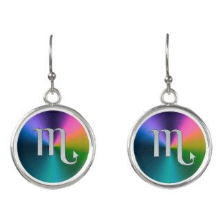 Silver Zodiac Sign Scorpio On Rainbow Earrings