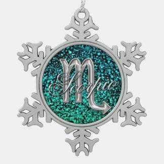 Silver Zodiac Sign Scorpio Snowflake Ornament