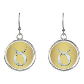 Silver Zodiac Sign Taurus On Gold Earrings
