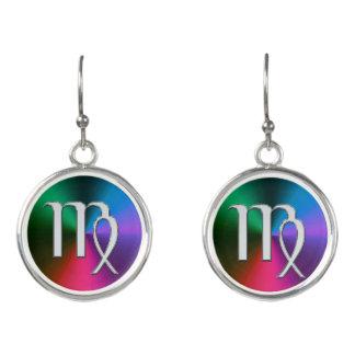 Silver Zodiac Sign Virgo  On Rainbow Earrings