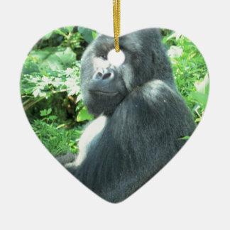 silverback Gorilla Ceramic Heart Decoration