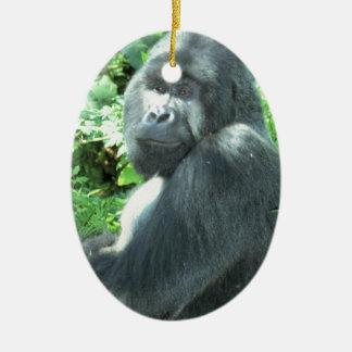 silverback Gorilla Ceramic Oval Decoration