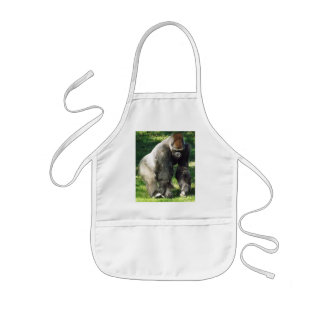 Silverback Male Lowland Gorilla Standing Up Kids Apron