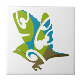 Silvereye bird small square tile