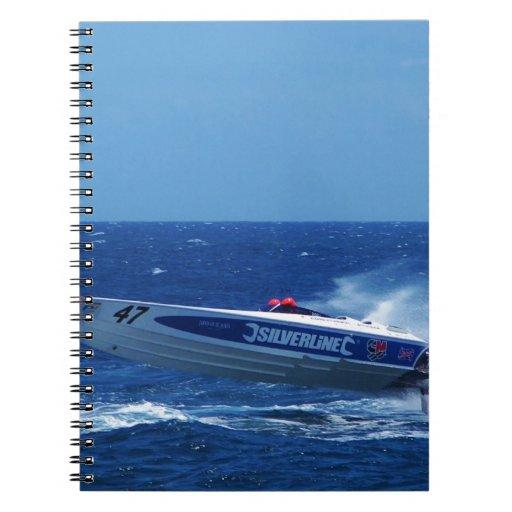 Silverline sponsored powerboat. spiral note books