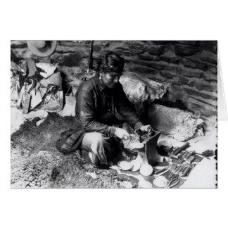 Silversmith at work, c.1914 card