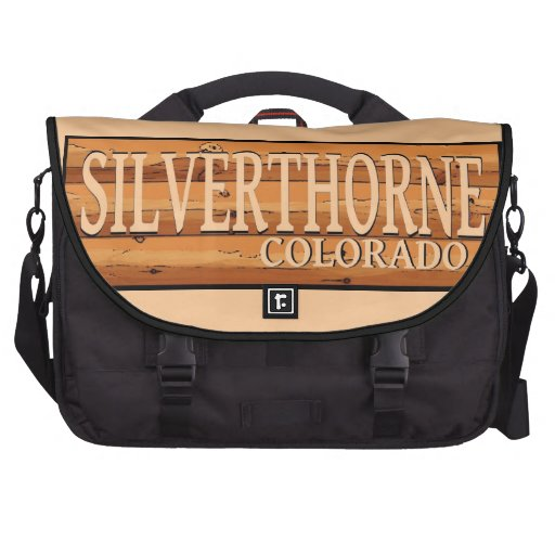 Silverthorne Colorado wooden log sign Bags For Laptop