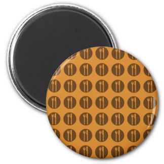 silverware orange and brown fridge magnet