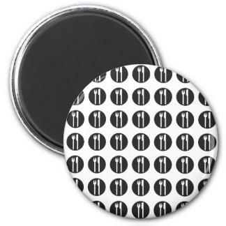silverware pattern black refrigerator magnets