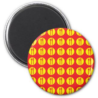 silverware red and yellow fridge magnet