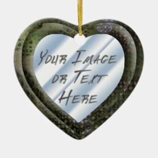 Silvery Batik Heart Frame Ceramic Heart Decoration