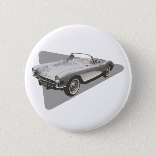 Silvery blue 1959 Corvette on silver foil 6 Cm Round Badge