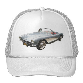 Silvery blue 1959 Corvette  on white cap. Cap