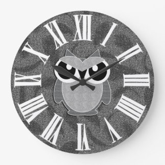 Silvery Faux Glitter Styled Woodland Owl Large Clock
