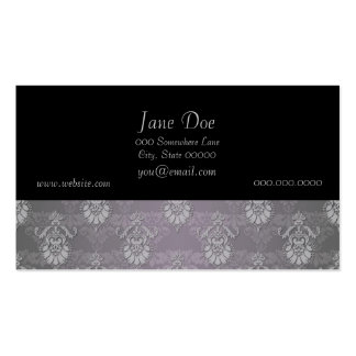 Silvery Grey Damask Pattern Business Card Template