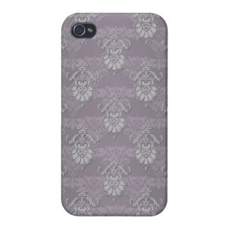 Silvery Grey Damask Pattern iPhone 4 Cases