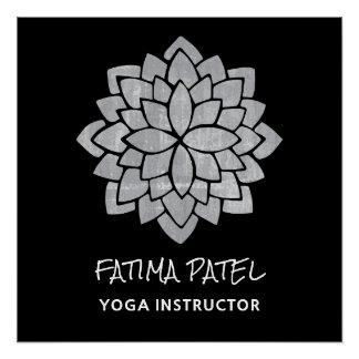 Silvery  Mandala Floral Modern  Yoga Instructor