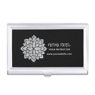 Silvery Mandala Floral Modern Yoga Instructor Case For Business Cards