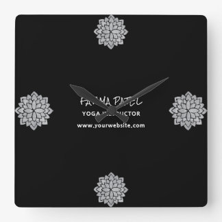 Silvery Mandala Floral Modern Yoga Instructor Square Wall Clock